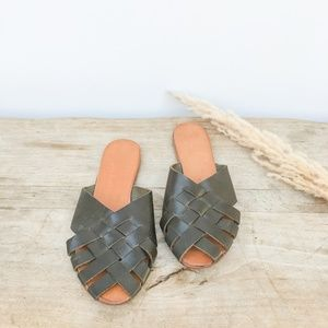 Minimalist leather basketweave sandals - Green, 8